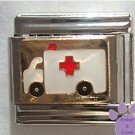 Red Cross Ambulance Italian Charm for Paramedic or EMT on gold tone