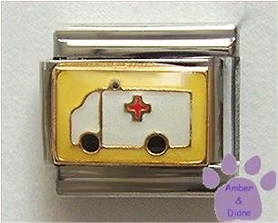 Ambulance on Yellow background Italian Charm Paramedic or EMT