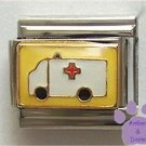 Ambulance on Yellow background Italian Charm Paramedic or EMT