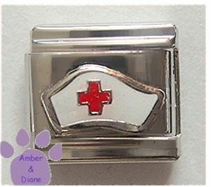 Nurse Cap with red cross Italian Charm - silvertone hat