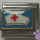 Nurse's Cap red cross Italian Charm - Nurse Hat on Blue