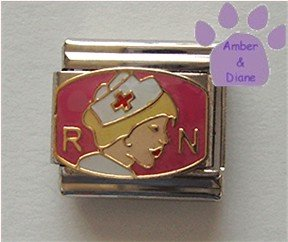 RN Nurse in White Cap Italian Charm Red Cross on pink Background