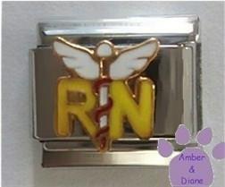 RN with Caduceus Italian Charm - Medical Symbol for Nurse