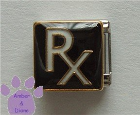 RX Prescription Symbol Italian Charm for Pharmacist Druggist