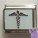 Silvertone Caduceus Medical Symbol Italian Charm on white enamel