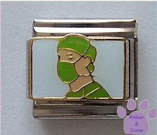 Surgeon or Doctor in Green Scrubs Italian Charm