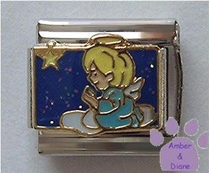 Angel Child Kneeling on Cloud Italian Charm with Star in Sky