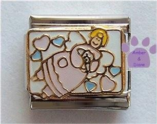 Angel of Love Italian Charm Surrounded by Hearts Holding Teddy