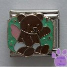 Angel Teddy Bear Italian Charm on Green Glitter Background