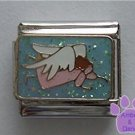 Angel with White Wings Italian Charm in Blue Glitter Sky