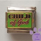 CHILD of God Italian Charm on a Green Enamel Background
