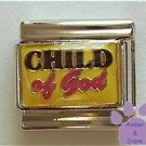 CHILD of God Italian Charm on Yellow Enamel Background