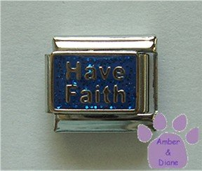 Have Faith Italian Charm on blue glitter enamel