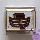 Noah's Ark Italian Charm Cute Brown Ark on Golden Waves