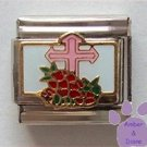 Pink Cross and Poppies Italian Charm in Flanders Fields