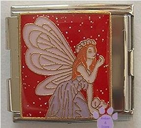 Beautiful Purple Fairy Italian Charm Megalink on red glitter