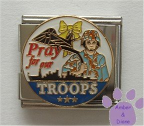 Pray for our TROOPS Italian Charm Megalink Yellow Ribbon Soldier