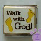 Walk with God Italian Charm Megalink with footprints on white