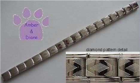 Diamond Pattern Silvertone Italian Charm Starter Bracelet