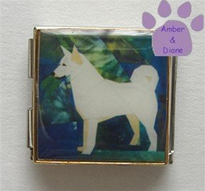 Canaan Dog or White Husky Custom Photo Italian Charm Megalink