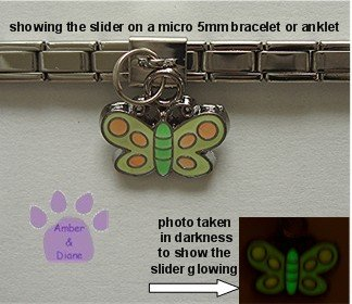 Butterfly Dangle Glow Slider 5mm Italian Charm - Color Changer
