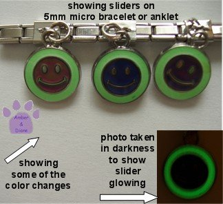 Happy Face Dangle Mood & Glow Slider 5mm Italian Charm Smiley Face