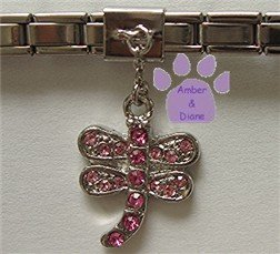 Pink Crystal Dragonfly Dangle Slider 5mm Italian Charm