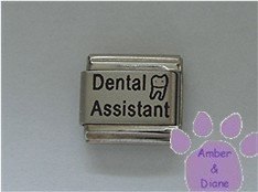 Dental Assistant Laser Italian Charm with a Molar Tooth