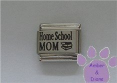 Home School MOM Laser Italian Charm with a stack of books