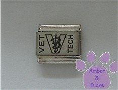 VET TECH Laser Italian Charm with the Veterinary Symbol