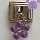 Amethyst Purple Flower Dangle Italian Charm for a February Birthday