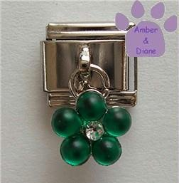 Emerald Green Flower Dangle Italian Charm for a May Birthday