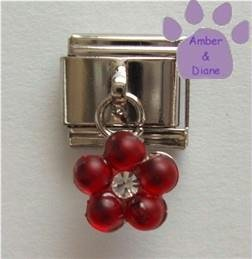 Ruby Red Flower Dangle Italian Charm for a July Birthday