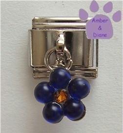 Sapphire Blue Flower Dangle Italian Charm for September Birthday
