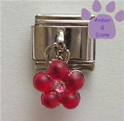 Tourmaline Pink Flower Dangle Italian Charm for October Birthday