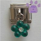Turquoise Flower Dangle Italian Charm for a December Birthday