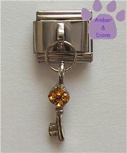 Key to Your Heart Italian Dangle Charm with Amber Crystals