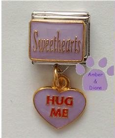 Sweethearts Dangle Italian Charm with HUG ME in Lavender