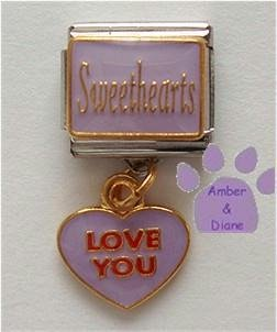 Sweethearts Dangle Italian Charm with LOVE YOU in Lavender
