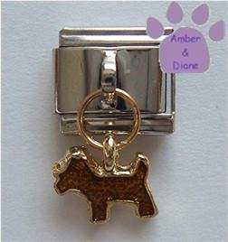 Gold Puppy Dog Italian Dangle Charm
