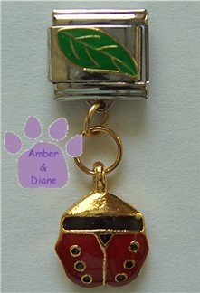 Lady Bug Hanging from a Leaf Enamel Dangle Italian Charm