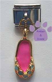 Pink Enamel Flip Flop Dangle Italian Charm
