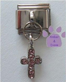 Cross Dangle Italian Charm with Pink Crystals