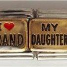 Double Link I (heart) MY GRANDDAUGHTER Italian Charm