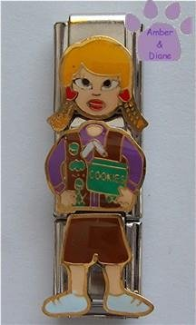 Triple Link Blond Brownie Girl with Cookies Italian Charm