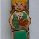 Triple Link Blond Girl Scout with Cookies Italian Charm