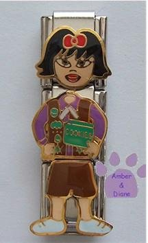 Triple Link Brownie Girl with Cookies Italian Charm Black Hair