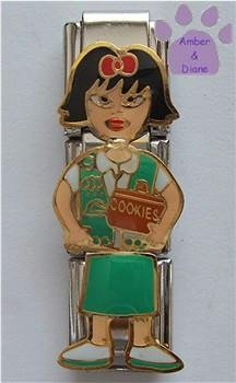 Triple Link Girl Scout Italian Charm Cookies with Black Hair