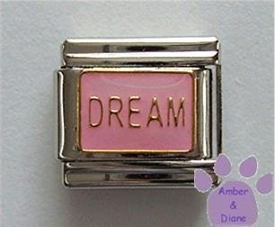 DREAM Italian Charm on Pink Enamel Background