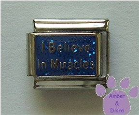 I Believe In Miracles Italian Charm on royal blue glitter